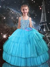 Aqua Blue Sleeveless Organza Lace Up Little Girls Pageant Gowns for Quinceanera and Wedding Party