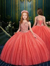 Glorious Watermelon Red Scoop Neckline Appliques Little Girls Pageant Dress Wholesale Sleeveless Lace Up