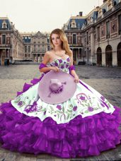 Sweetheart Sleeveless Lace Up Quinceanera Dresses Eggplant Purple Organza