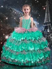 Top Selling Straps Sleeveless Lace Up Kids Formal Wear Turquoise Organza