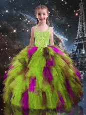 On Sale Yellow Green Ball Gowns Beading and Ruffles Little Girls Pageant Dress Lace Up Tulle Sleeveless Floor Length