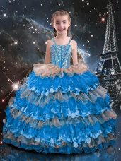 Glorious Baby Blue Sleeveless Organza Lace Up Child Pageant Dress for Quinceanera and Wedding Party