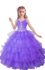 Lilac Organza Zipper Little Girls Pageant Dress Wholesale Sleeveless Floor Length Beading and Ruffled Layers
