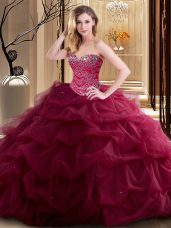 Super Sleeveless Lace Up Floor Length Beading and Ruffles 15th Birthday Dress