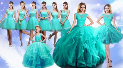 Turquoise Sleeveless Floor Length Beading and Lace Lace Up Sweet 16 Quinceanera Dress
