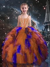 Floor Length Lace Up Child Pageant Dress Orange Red for Quinceanera and Wedding Party with Beading and Ruffles