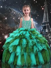 Turquoise Tulle Lace Up Straps Sleeveless Floor Length Girls Pageant Dresses Beading and Ruffles