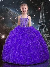 Eggplant Purple Sleeveless Beading and Ruffles Floor Length Little Girl Pageant Gowns