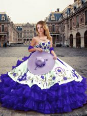 Vintage Embroidery and Ruffled Layers Quinceanera Gowns Purple Lace Up Sleeveless Floor Length