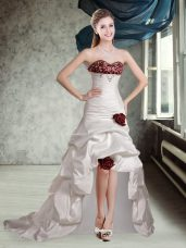 Appliques and Pick Ups and Hand Made Flower Wedding Dress White And Red Lace Up Sleeveless High Low Brush Train