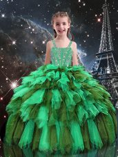 Apple Green Sleeveless Floor Length Beading and Ruffles Lace Up Kids Pageant Dress