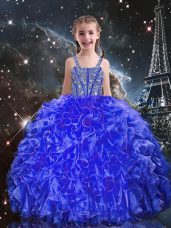 Eye-catching Royal Blue Sleeveless Organza Lace Up Little Girl Pageant Gowns for Quinceanera and Wedding Party