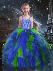 Ball Gowns Girls Pageant Dresses Blue Straps Tulle Sleeveless Floor Length Lace Up