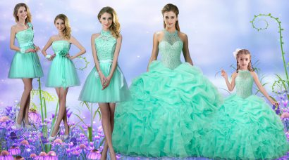 Apple Green Sleeveless Beading and Ruffles and Pick Ups Floor Length Sweet 16 Dresses
