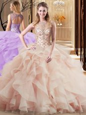 High Quality Scoop Lace Up Sweet 16 Dresses Peach for Military Ball and Sweet 16 and Quinceanera with Beading and Ruffles Brush Train