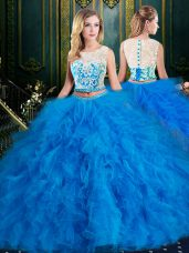 Dazzling Scoop Floor Length Zipper Ball Gown Prom Dress Blue for Military Ball and Sweet 16 and Quinceanera with Lace and Ruffles