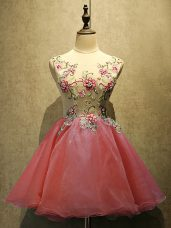 Mini Length A-line Sleeveless Coral Red Prom Dresses Lace Up