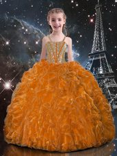 Straps Sleeveless Lace Up Child Pageant Dress Orange Red Organza
