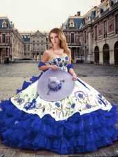 Exquisite Royal Blue Ball Gowns Organza Sweetheart Sleeveless Embroidery and Ruffled Layers Floor Length Lace Up Vestidos de Quinceanera