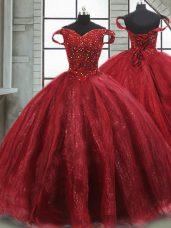 Delicate Wine Red 15th Birthday Dress Tulle Brush Train Sleeveless Beading