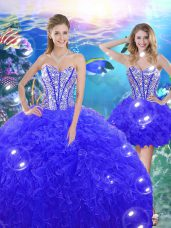 Glittering Ball Gowns Quinceanera Dress Blue Sweetheart Organza Sleeveless Floor Length Lace Up