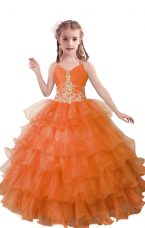 Latest Beading and Ruffled Layers Kids Pageant Dress Orange Red Zipper Sleeveless Floor Length