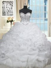 Brush Train Ball Gowns Sweet 16 Dresses White Sweetheart Organza Sleeveless Lace Up