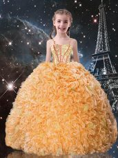 Best Straps Sleeveless Lace Up Kids Formal Wear Gold Organza