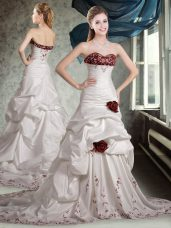 Sweetheart Sleeveless Bridal Gown Brush Train Appliques and Pick Ups and Hand Made Flower White And Red Taffeta