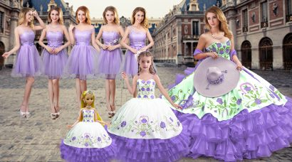 Latest Floor Length Lavender Quinceanera Dresses Satin and Organza Sleeveless Embroidery and Ruffled Layers