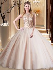 Scoop Peach Lace Up Quinceanera Dress Beading Sleeveless Brush Train