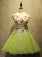Fantastic Olive Green Scoop Lace Up Embroidery Dress for Prom Sleeveless