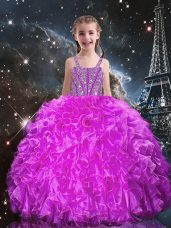 Discount Sleeveless Floor Length Beading and Ruffles Lace Up Little Girl Pageant Gowns with Fuchsia