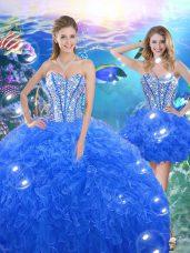 Customized Royal Blue Sweetheart Neckline Beading and Ruffles Sweet 16 Dresses Sleeveless Lace Up