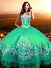 Sweetheart Sleeveless Lace Up 15th Birthday Dress Turquoise Taffeta