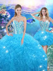 Hot Selling Floor Length Baby Blue Quinceanera Gown Sweetheart Sleeveless Lace Up