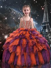 Rust Red Sleeveless Floor Length Beading and Ruffles Lace Up Little Girl Pageant Gowns