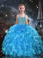 Floor Length Baby Blue Pageant Gowns For Girls Organza Sleeveless Beading and Ruffles