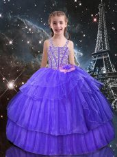 Sleeveless Organza Floor Length Lace Up Little Girls Pageant Dress Wholesale in Eggplant Purple with Beading and Ruffled Layers