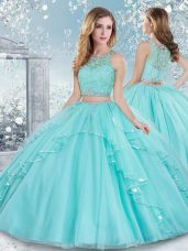 Fancy Floor Length Clasp Handle Sweet 16 Quinceanera Dress Aqua Blue for Military Ball and Sweet 16 and Quinceanera with Beading and Lace