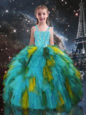 Aqua Blue Straps Lace Up Beading and Ruffles Kids Pageant Dress Short Sleeves