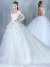 Low Price White A-line Lace Wedding Dress Backless Tulle Long Sleeves
