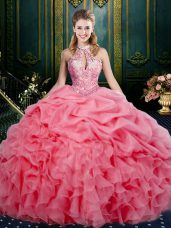 Modest Sleeveless Floor Length Beading and Ruffles and Pick Ups Lace Up Vestidos de Quinceanera with Watermelon Red