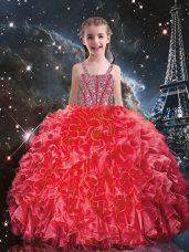 Fashion Straps Sleeveless Lace Up Girls Pageant Dresses Coral Red Organza