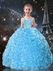 Exquisite Floor Length Lace Up Child Pageant Dress Aqua Blue for Quinceanera and Wedding Party with Beading and Ruffles