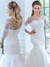 Flirting White Half Sleeves Lace Lace Up Wedding Dress