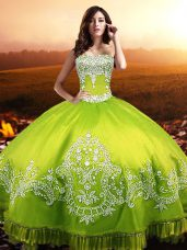 Superior Yellow Green Taffeta Lace Up Sweetheart Sleeveless Floor Length Vestidos de Quinceanera Beading and Appliques