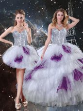 Decent Multi-color Sweetheart Neckline Beading and Ruffled Layers and Sequins Quinceanera Dresses Sleeveless Lace Up