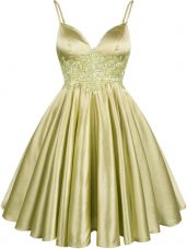 Olive Green Lace Up Court Dresses for Sweet 16 Lace Sleeveless Knee Length