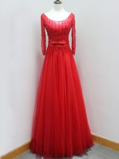 Wonderful Red Prom Dresses Scoop Long Sleeves Brush Train Backless